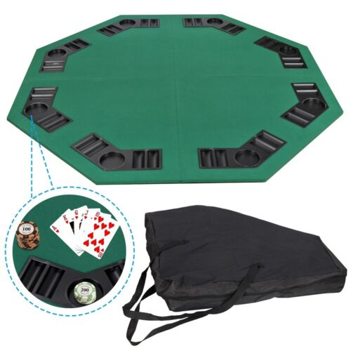 Octagon Poker Card Game 48″ Folding Table Top Cup Chip Holders Blackjack Party Casino