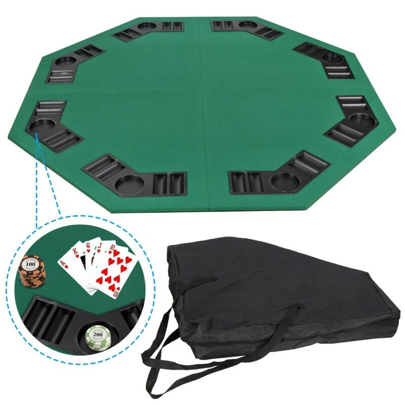 """48"""" Folding Octagon Poker Card Game Table Top Cup Chip Holders Blackjack Party"""