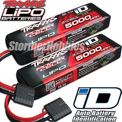 Traxxas 11.1V 5000mah 3S 25C LiPO Battery with ID Plug (2) 2872X ~FREE-SHIPPING~