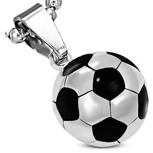 Stainless Steel Silver-Tone Black Soccer Ball Football Pendant Necklace