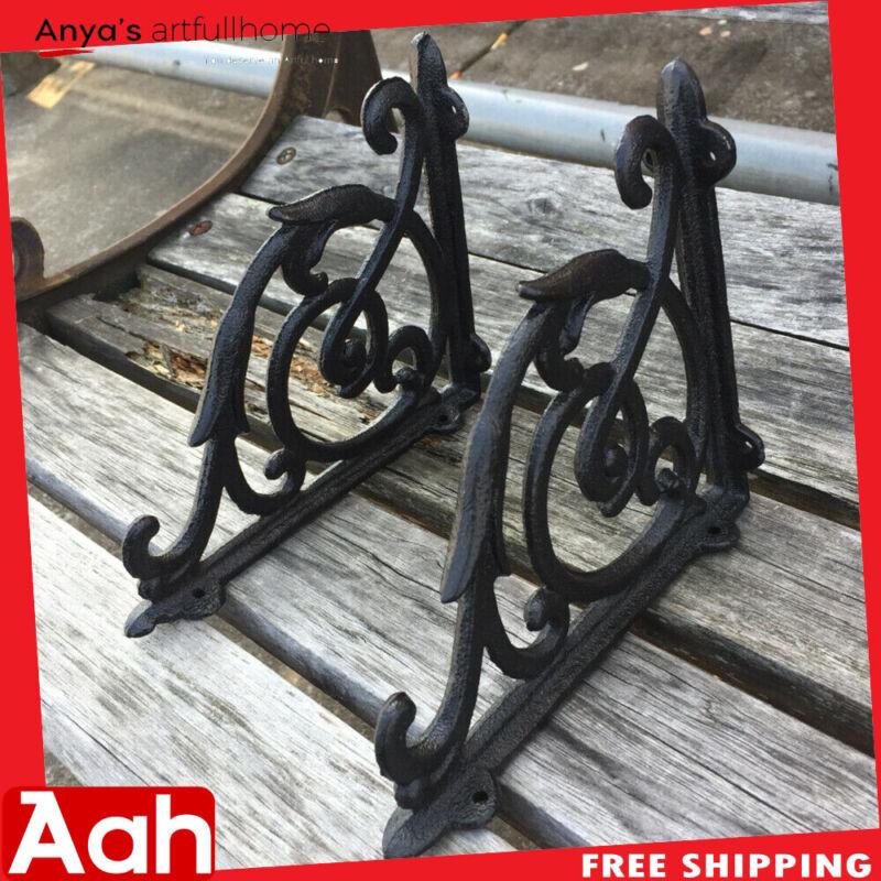 A Pair Antique Style Cast Iron Brackets Garden Braces Rustic Shelf Bracket Black
