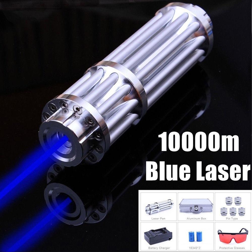 High Power Blue Laser Pointer Burning Light 450nm Beam Pen 5mW+ 5 Caps USA-Stock
