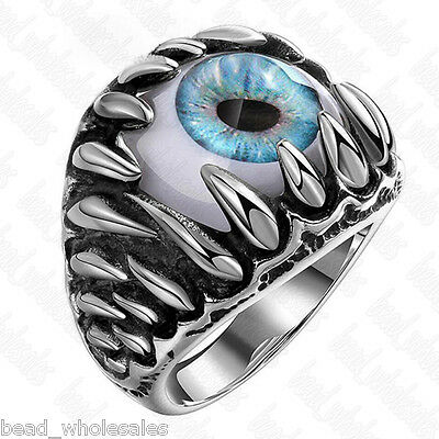 Size 7-12 Men's Cool Stainless Steel Dragon Claw Evil Eye Ring Rock Band Jewelry - Eye Rings