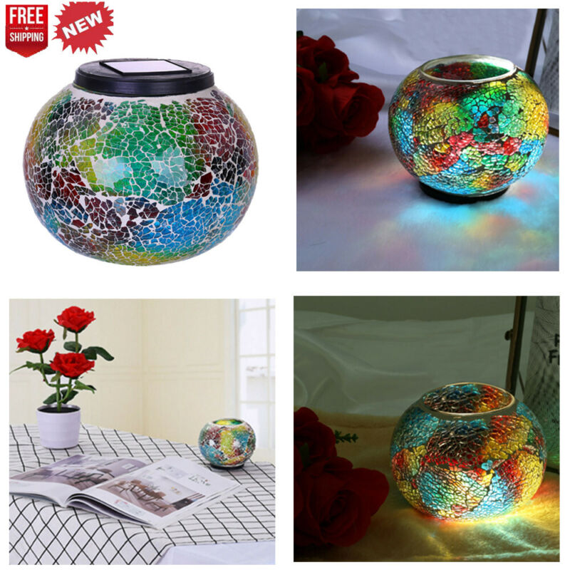 solar powered glass ball led garden lights