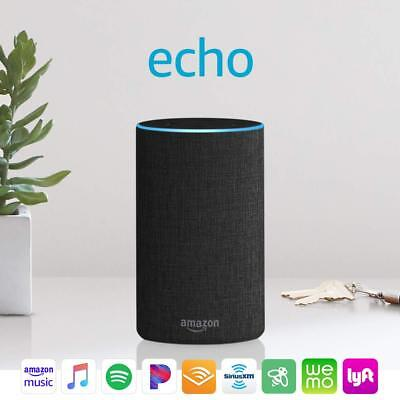 Amazon Echo (2nd Generation) Smart Speaker with Alekxa Voice Control - Charcoal