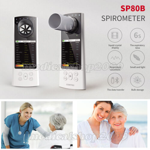 NEW SP80B HandHeld Bluetooth Spirometer Lung Volume Device with PC Software
