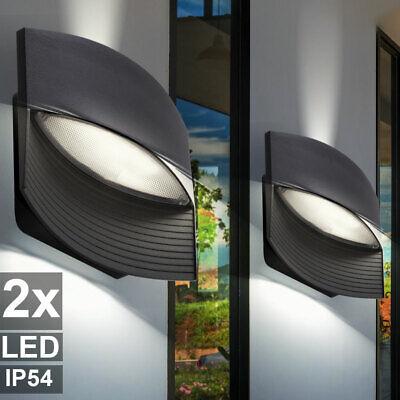 Set of 2 LED wall lights facades UP DOWN spotlights ALU yard garden lamps gray