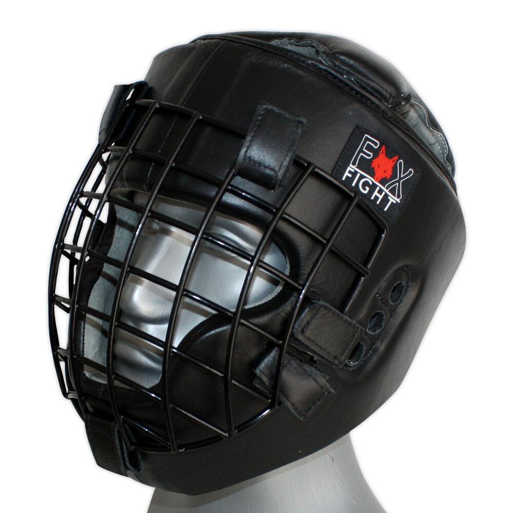 Kopfschutz m. Metallgitterfront Front Visir Gitter Maske Leder Schwarz FOX-FIGHT