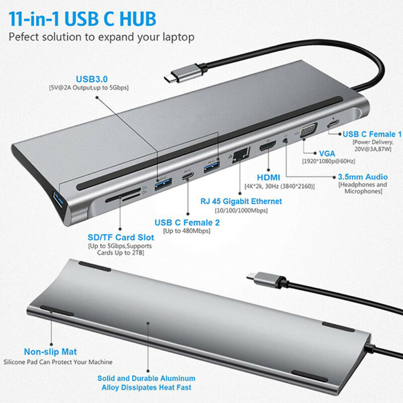 11-in-1 USB 3.0 Port Docking Station Type-c To HDMI VGA RJ45
