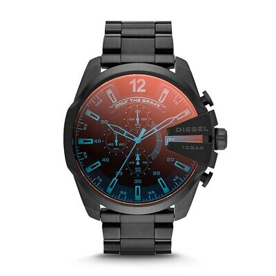 Diesel DZ4318 Mega Chief Mens Watch Chronograph Black Stainless Steel Ion-plated