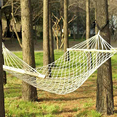 - New Single Person Cotton Rope Hammock Outdoor Camping Hanging Bed Sleeping Swing