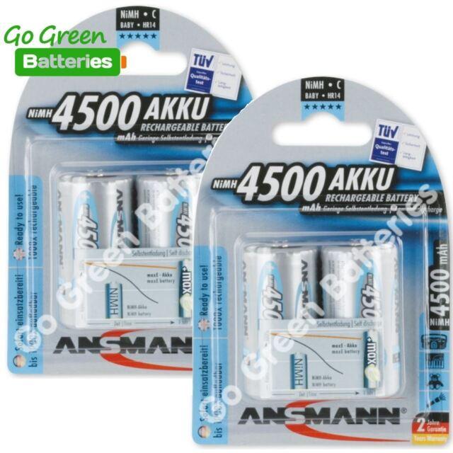 4x Ansmann C 4500mAh RTU Stay Charged NiMH Rechargeable Batteries LR14 HR14 ACCU