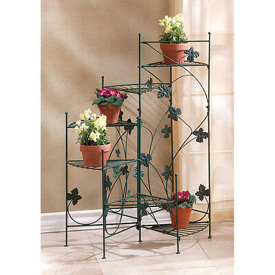 """IVY DESIGN STAIRCASE PLANT STAND - 38 1/2"""" HIGH - IRON - GREEN"""