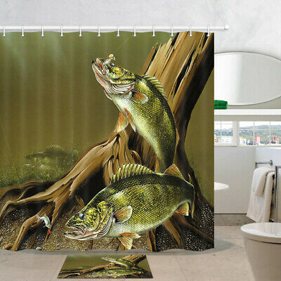 - Trout fishing in the lakeside waters Shower Curtain Home Bathroom Decor Fabric