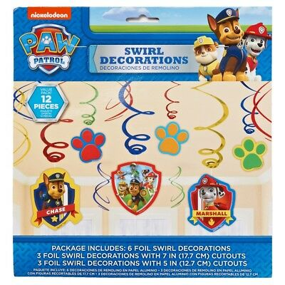 Paw Patrol 12ct Puppy Birthday Party Foil Swirls Pets Hanging Cutout Decor C4739