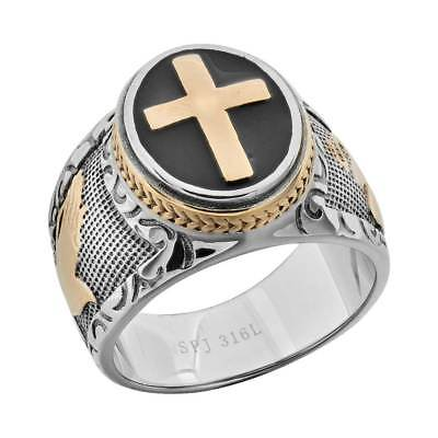 Ring - Men's Black & Silver Stainless Steel Christian Holy Cross Ring Size 8-14