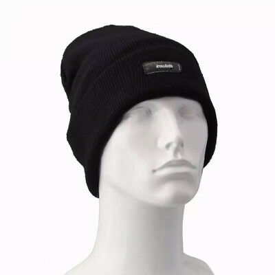 Men Insulated Hat Winter Thermal Knitted Black Beanie Hat Fleece Lined One  Size 77bf82a960ac