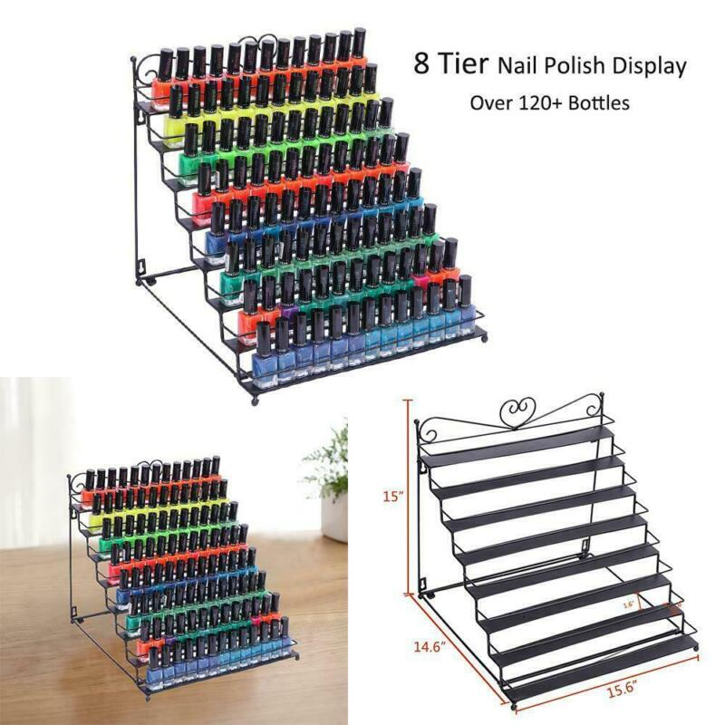New Pro Nail Polish Display Rack Lipstick Cosmetic Organizer Stand Metal 8 Tier
