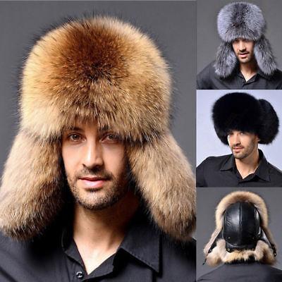Women Mens Fur Leather Hat Winter Warm Hat Cap Russian Cossack Trapper Hats US