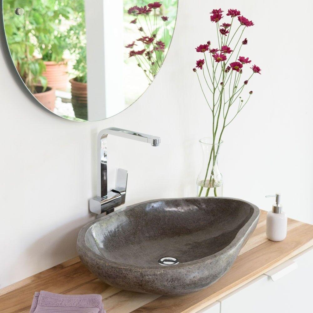 WOHNFREUDEN Flussstein Aufsatz-Waschbecken ca 60 cm OVAL Naturstein Waschschale