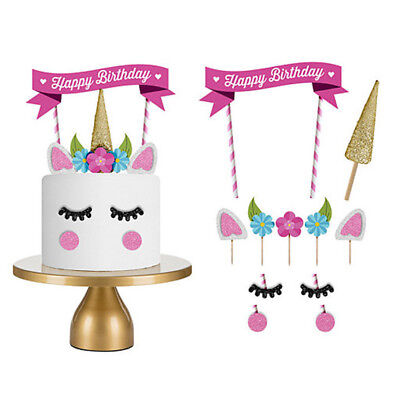 1set Cute Unicorn Happy Birthday Cake Topper Banner Decor Candle Party Supply