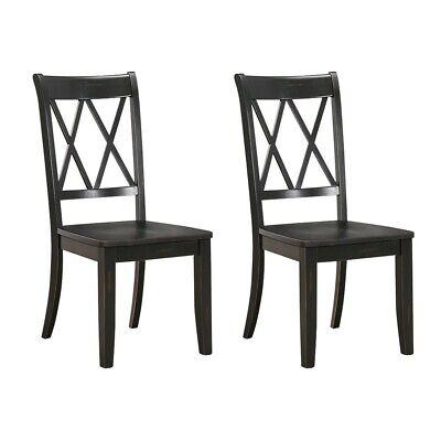 Set Of 2 Homelegance X Back Wood Dining Chair, Black