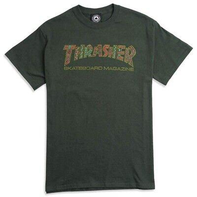 e2e934fe1796 Thrasher Magazine DAVIS LOGO Skateboard T Shirt FOREST GREEN MEDIUM