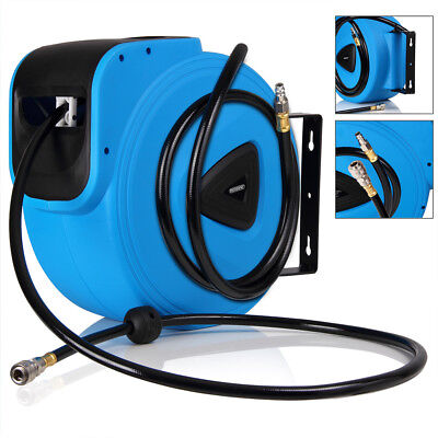 "Pneumatic Hose Reel Automatic 30m Air Hose 1/4"" Drum Garage Workshop Garden Tool"