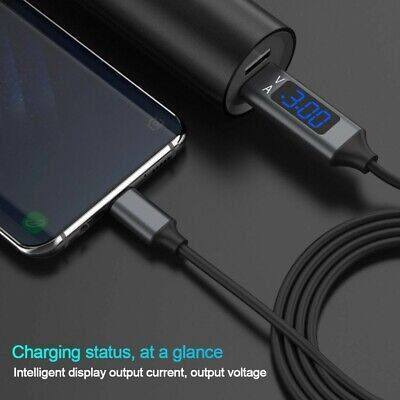 Usb 3.0 Type C Fast Charge Data Sync Cable With Voltage And Amp Digital Display
