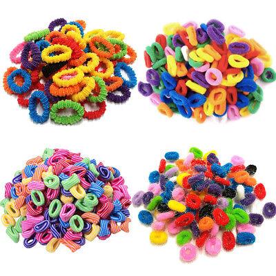 Pack Of 50 Assorted Colours Girls Kids Elastic Hair Band Bobbles Stripe Glitter