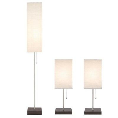 Hampton Bay 60 in. Floor and 19 in. Table Lamps with Paper Shade Combo Set