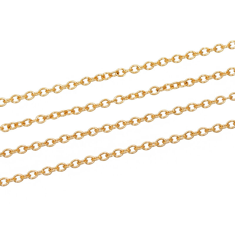 BULK Gold Stainless Steel Cable Chain - 1M 2mm x 1.6mm - 3.25 feet - FD399