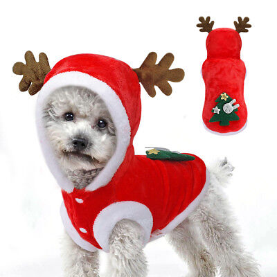 Xmas Dog Christmas Costumes Reindeer Hoodie Jacket Clothes Pet Cat Jumpsuit Coat (Dog Christmas Costumes)
