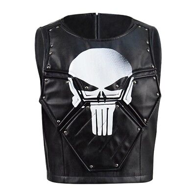 Punisher Frank Castle Cosplay Costume Leather Vest Skull Print Halloween Cosplay - Punisher Costume Vest