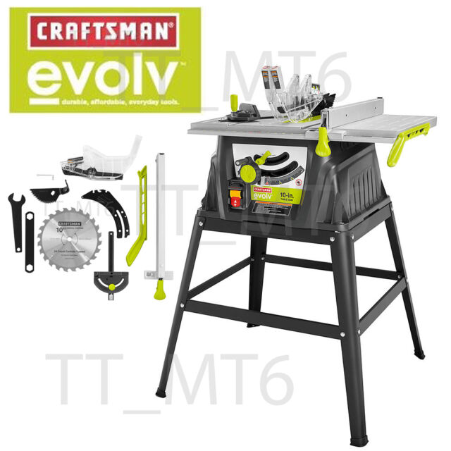 Craftsman evolve 15 amp 10 inch table saw 009284614 ebay craftsman evolv 15 amp 10 table saw with stand accessories garage mechanic greentooth Image collections