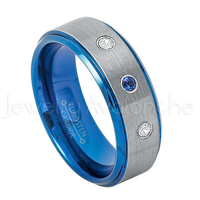 - Tungsten Ring,0.21ctw Blue Sapphire & Diamond 3-stone, September Birthstone #744