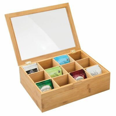 mDesign Bamboo Tea Storage Organizer Box - 12 Divided Sections - Natural/Clear