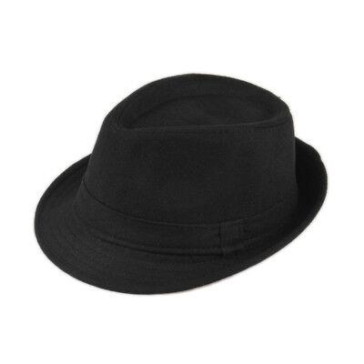Black Winter Warm Wool Felt Fedora Trilby Hat Panama Gangster Cap Jazz Hat DWV1