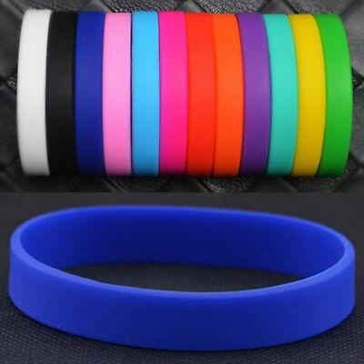 10Pcs Silicone Rubber Elasticity Wristband Wrist Band Cuff Bracelet Sport Bangle (Rubber Bracelet)