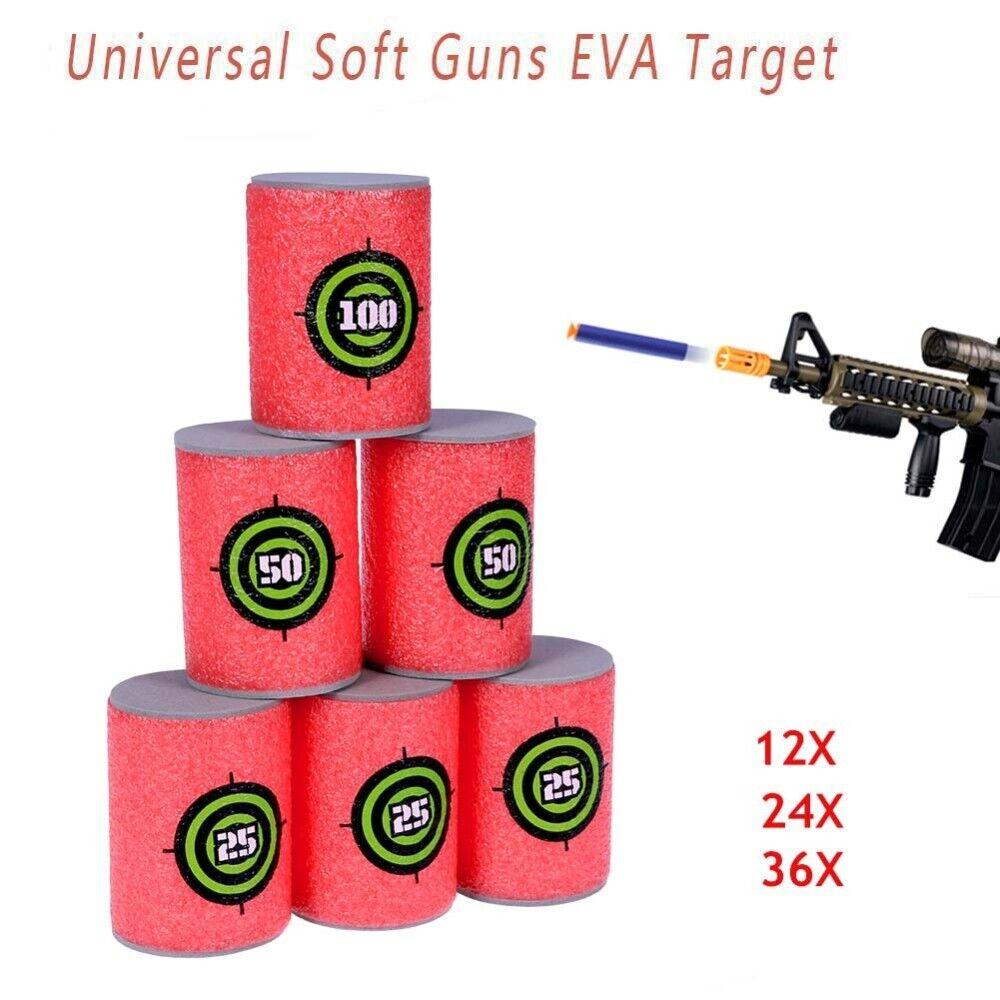 6 Soft Foam Can Target Gun Shoot Dart Kid Toy UK
