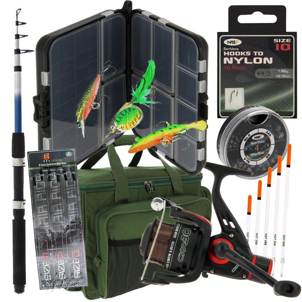 Details about NGT Travel Carp Coarse Fishing Set 1.8m Rod Carryall Bait Bit Box Floats & More