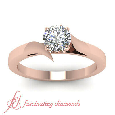 1 Carat Round Cut Diamond Solitaire 14K Rose Gold Engagement Ring GIA Certified 1