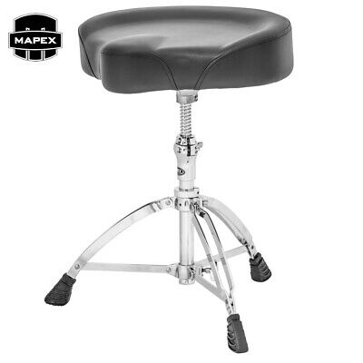 Mapex T755A Double Braced Black Vinyl Saddle Drum Throne w/ Height Adjustment Double Braced Saddle