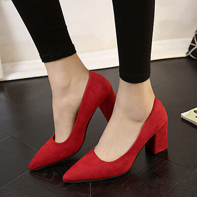 Women Shoes Pointed Toe High Heels Thick Flock Solid Shallow Suede Work Shoes