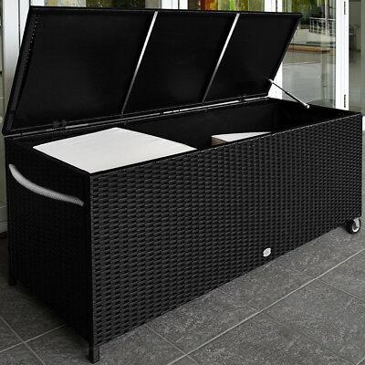 Auflagenbox Poly Rattan Kissenbox Gartenbox Gartentruhe Kiste Aufbewahrungsbox