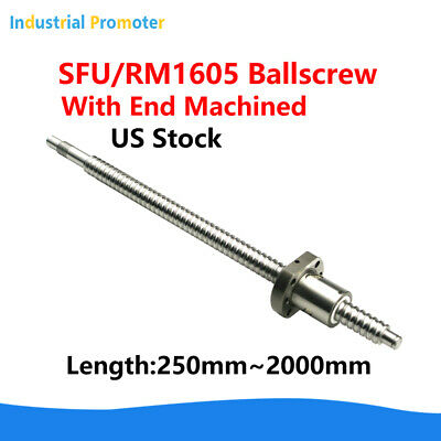 Rm1605 Sfu1605 Ball Screw L250mm-2000mm C7 Ballscrew With Single Ballnut For Cnc