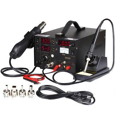 853d Soldering Rework Station Solder Iron Smd Hot Air Gun Dc Power Supply Welder