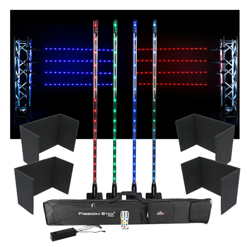 Chauvet DJ Lighting Freedom Stick Pack Color LED Light Stands w/ Uplight Covers