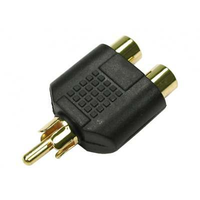 RCA Phono Y Splitter Adaptor Connector 2 x Female to 1 x Male Audio Video GOLD