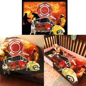 Firefighter Fire Rescue Firemen Dog Fire Truck 50x60 Throw Soft Fleece Blanket
